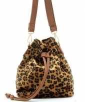 Hip schoudertasje bruin zwart luipaardprint panterprint dierenprint 30 cm pu nepleer carnavalskledin
