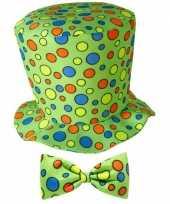 Hoge clowns hoed met stippen carnavalskleding