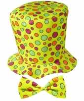 Hoge clownshoed met stippen carnavalskleding 10069810