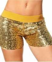 Hotpants goud met glitters carnavalskleding