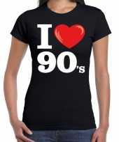 I love shirts voor dames zwart 90s bedrukking carnavalskleding
