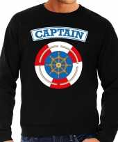 Kapitein captain verkleed sweater zwart voor heren carnavalskleding