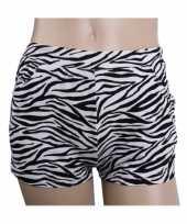 Katoenen zebra hotpants hoge taille carnavalskleding