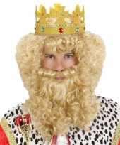 Krullende pruik met snor en baard carnavalskleding