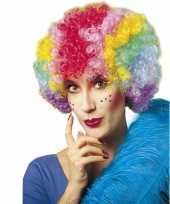 Krulletjes pruik met meerdere kleuren carnavalskleding