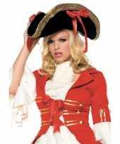 Luxe piraten hoed met rode strikken carnavalskleding