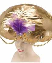 Mega sultand hoed goud carnavalskleding