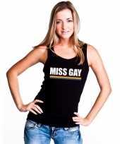 Miss gay mouwloos shirt zwart met regenboog vlag dames carnavalskleding