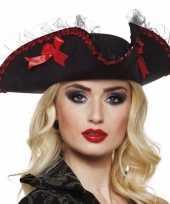 Musketiershoed zwart rood voor dames carnavalskleding