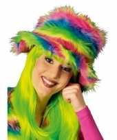 Neon kleurige bonte hoed carnavalskleding