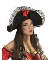 Piratenhoed met strik carnavalskleding