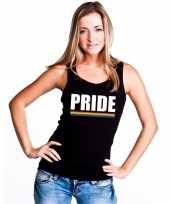 Pride mouwloos shirt zwart met regenboog vlag dames carnavalskleding