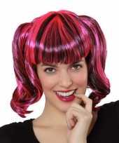 Pruik met zwart en roze haar carnavalskleding