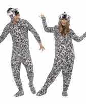 Pyamapak zebra voor dames en heren carnavalskleding