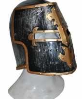 Ridder helmen zwart met goud carnavalskleding