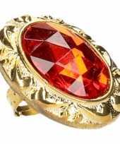 Ring met grote rode diamant carnavalskleding