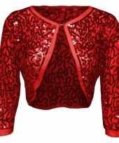 Rode glitter pailletten disco bolero jasje dames carnavalskleding