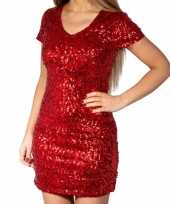 Rode glitter pailletten disco jurkje dames carnavalskleding