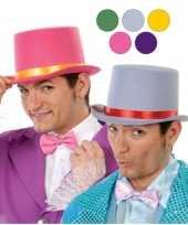 Rode hoge hoed voor volwassenen van vilt carnavalskleding