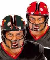 Rode rugby sporters helm carnavalskleding