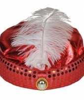 Rode tulband met lange witte veer carnavalskleding