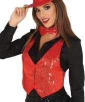 Rood gilet met glitters pailletten voor dames carnavalskleding