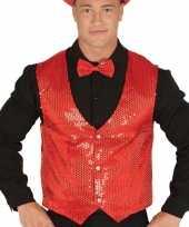 Rood gilet met glitters pailletten voor heren carnavalskleding