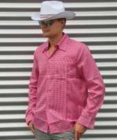 Roze geruit cowboy overhemd voor heren carnavalskleding