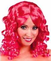 Roze glamour damespruik golvend haar carnavalskleding