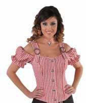 Sexy cowgirl blouse rood off shoulder carnavalskleding