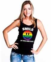 Smile if you are gay emoticon tanktop singlet-shirt zwart dames carnavalskleding