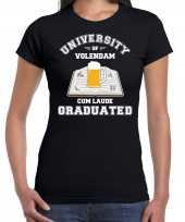Studenten carnaval t-shirt zwart university of volendam voor dames carnavalskleding