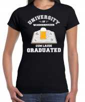 Studenten carnaval t-shirt zwart university of warmenhuizen voor dames carnavalskleding