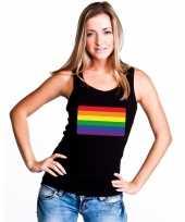 Tanktop zwart regenboog vlag zwart dames carnavalskleding