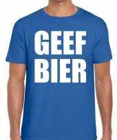 Toppers geef bier heren t-shirt blauw carnavalskleding