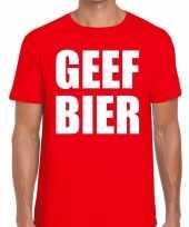 Toppers geef bier heren t-shirt rood carnavalskleding