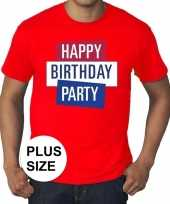 Toppers grote maten rood toppers happy birthday party t-shirt officieel carnavalskleding