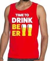 Toppers time to drink beer tekst tanktop mouwloos shirt rood carnavalskleding