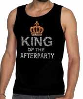 Toppers zwart toppers king of the afterparty glitter tanktop shirt heren carnavalskleding