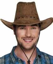 Verkleed cowboyhoeden elroy bruin met lederlook carnavalskleding