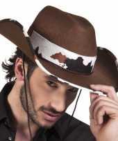 Verkleed cowboyhoeden texas met koeienprint carnavalskleding
