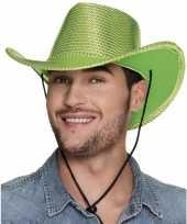 Verkleed grote cowboyhoeden lime groen met pailletten carnavalskleding