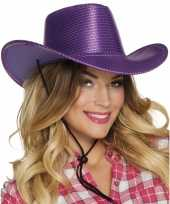 Verkleed grote cowboyhoeden paars met pailletten carnavalskleding