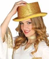 Verkleed hoge hoed gouden glitters carnavalskleding