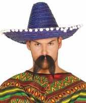 Verkleed sombrero blauw 45 cm mexico voor volwassenen carnavalskleding