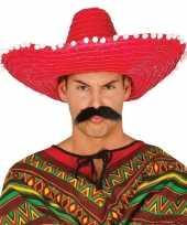 Verkleed sombrero rood 50 cm mexico voor volwassenen carnavalskleding