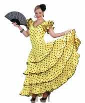 Verkleedkleding gele flamenco jurk carnavalskleding