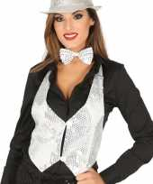 Wit gilet met glitters pailletten voor dames carnavalskleding