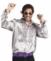 Zilveren disco blouse voor heren carnavalskleding
