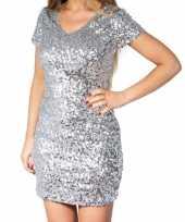 Zilveren glitter pailletten disco jurkje dames carnavalskleding